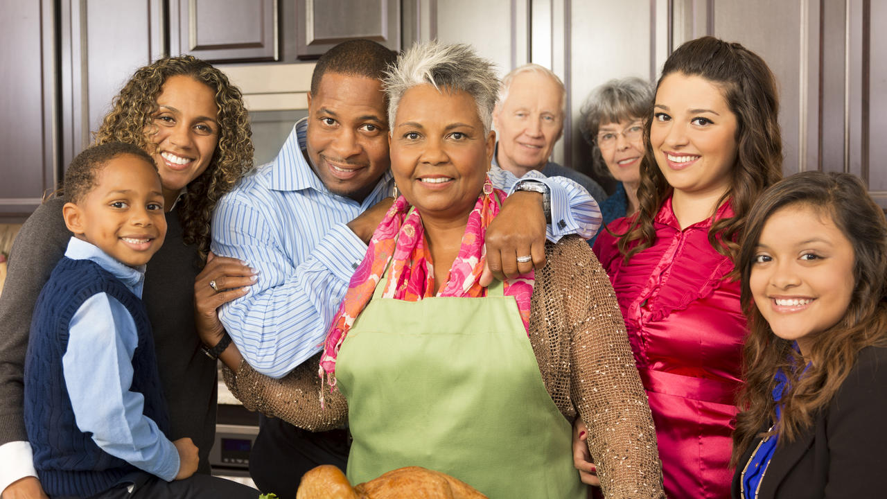 Happy blended family in a kitchen