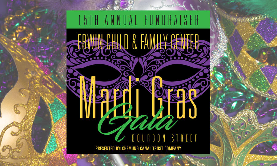 Mardi Gras masks with the Mardi Gras Gala logo